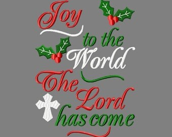 Buy 3 get 1 free! Joy to the world The Lord has come embroidery design, Christmas embroidery design 5x7 6x10