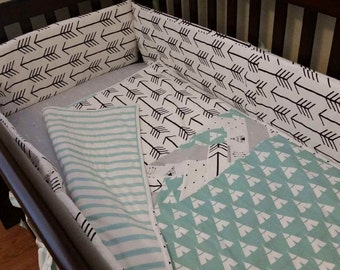 6 Piece Handmade Custom Baby Crib Bedding Sets