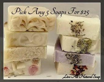 Natural Soap, Natural Soap, You pick 5 Full Size Soap Bars, Choose Five Soap, Natural Soap Bundle, Soap Lot,