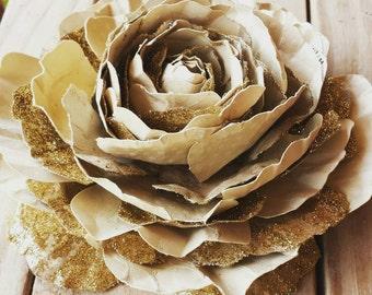 Gold/tan peony handmade paper flower.
