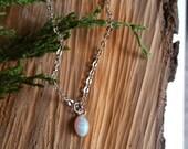 Dainty opal necklace, tiny opal necklace, minimalist opal drop necklace, white opal, colorful opal necklace, opal charm, tiny opal