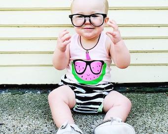Baby Girls WATERMELON racerback tank top. Pink or white watermelon. Baby girl shirts. Toddler girl shirts. Handmade, beach shirt. Summer Top