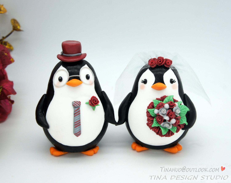 Nerdy Wedding Cake Toppers Love Bird Penguin Wedding Cake
