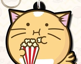 Cat Eating Popcorn Keyring The Fuzzballs Cute Kawaii Happy Japanese Funny Adorable Cutness Overload Charm Om Nom Cinema Eating Gift Idea