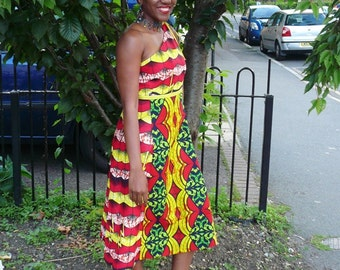 SAMPLE SALE - 40% OFF - Red and Yellow Waves Ankara One Shoulder Sundress - One of a kind