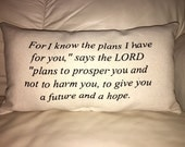 For I Know the plans, Jeremiah 29:11, Scripture, Christian, Lumbar Pillow, Black, Inspiration
