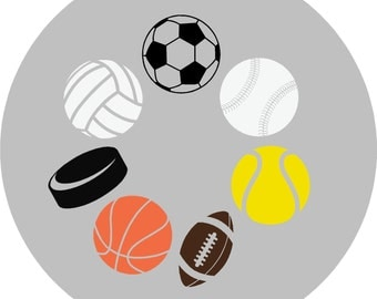 Sports Wall Decal, Nursery Wall Decal, Kids Wall Decal, Basketball,Volleyball,Soccer Ball,Tennis Ball,Football,Hockey Puck,Wall Decal