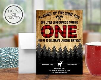 Lumberjack Invitation, Lumberjack Party, Lumberjack First Birthday, Lumberjack Birthday Party, Plaid, Wilderness, Lumber Jack, Forest Woods
