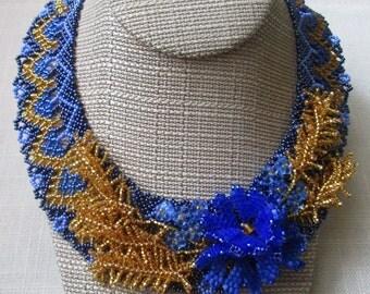 Ukrainian necklace Woloshky. Ukrainian jewelry. Handmade tradition flower necklace. Cornflower necklace.