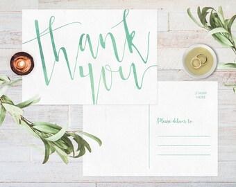 Wedding thank you postcard, Printable thank you cards printable, Wedding thank you cards, Thankyou cards, Watercolor thank you cards