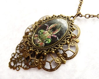 Beetle necklace, filigree pendant, insect jewelry, gothic