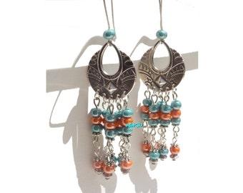 Drop seed beads earrings