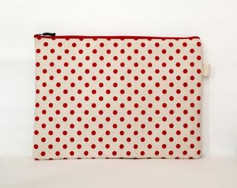 """11 Inch MacBook Sleeve, 12 Inch MacBook Sleeve, 13"""" Macbook Pro, Macbook Pro 13 Sleeve, Macbook Air Sleeve, Laptop Sleeve - Red Polka Dots"""