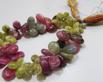 Genuine Multi Sapphire Teardrop Beads , Smooth Pear Shape Beads , Length 9 inch, approx 80 to 90 Beads per strand , 5x8 to 7x10mm Size Beads
