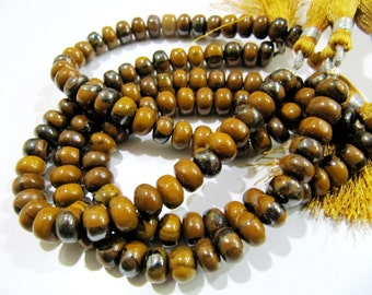 Beautiful Brown Blood Agate Smooth Rondelle Beads , Natural Plain Jade Beads , Length 8 inch long , Size 8-9mm , Sold Per Strand - Wholesale