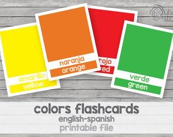Printable kid's colors flashcards, english-spanish