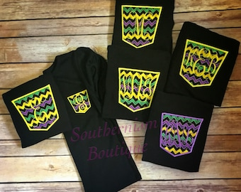 Mardi Gras Shirt! Personalize Mardi Gras Shirt! Womens Mardi Gras Shirt! Monogram Mardi Gras Shirt! Pocket Tee!  Children to Plus Size!