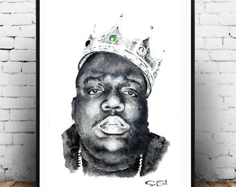 Biggie smalls, Big Notorious watercolor poster, rapper poster, Christopher Wallace,gangsta rapper, Gift for him,