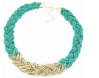 Boho 'n' Beads Necklace in Teal & Gold