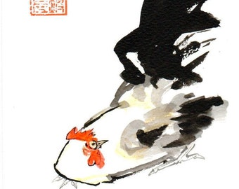 Christmas, Year of the Rooster,2017, Rooster, Original Sumi Ink Painting, Chines New Year,baby shower,new year