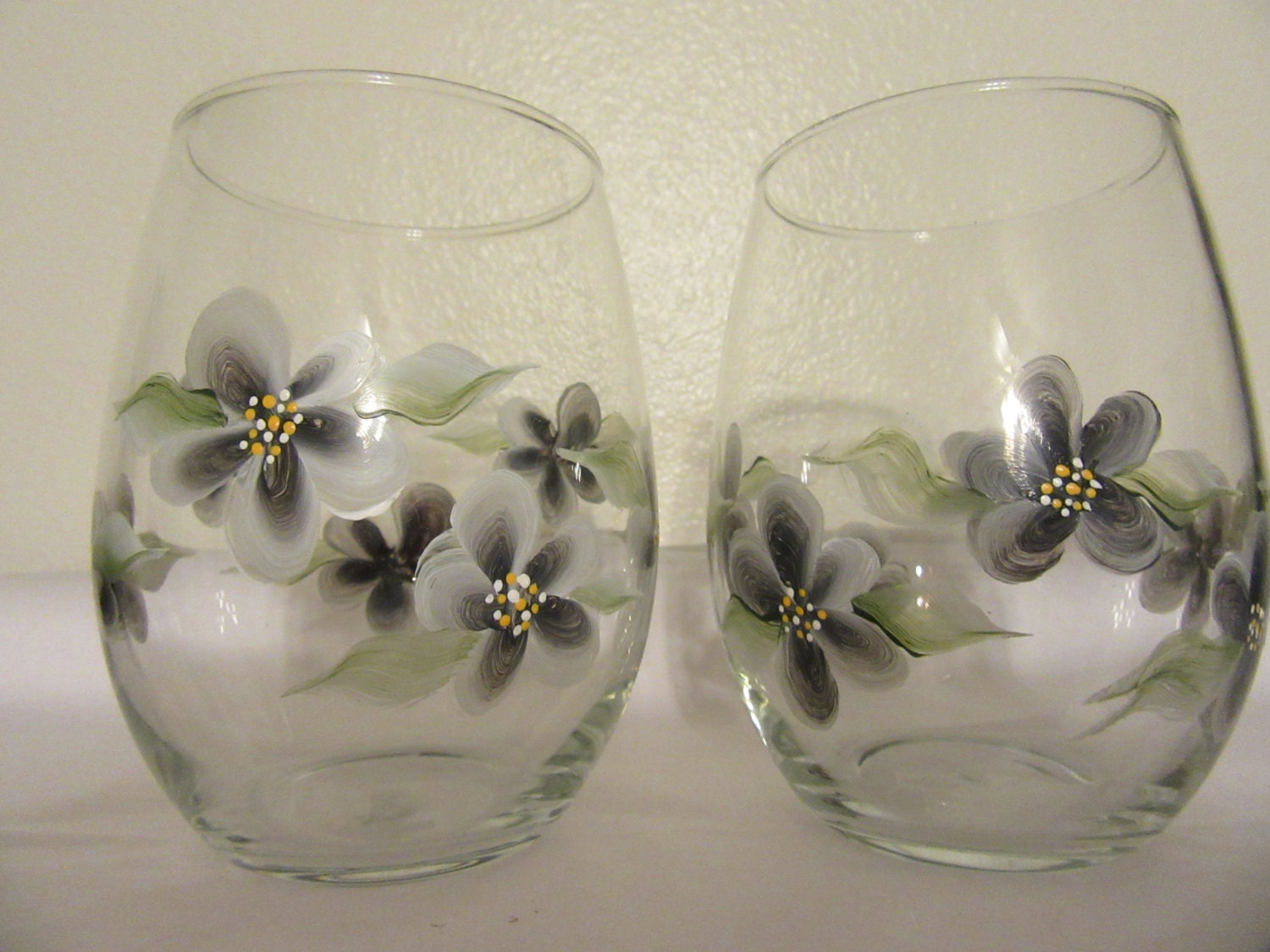 Glasses glass drinking hand painted clear wine water soda for Hand painted drinking glasses