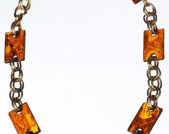 YSL Yves Saint Laurent Rectangular Faux Tortoise Shell Chain Necklace
