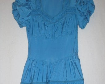 Vintage Blue Satin Dress