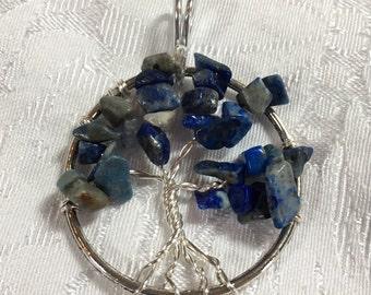 Blue Sodalite Tree of Life Pendant