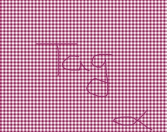 Cranberry Gingham on White Cardstock Paper