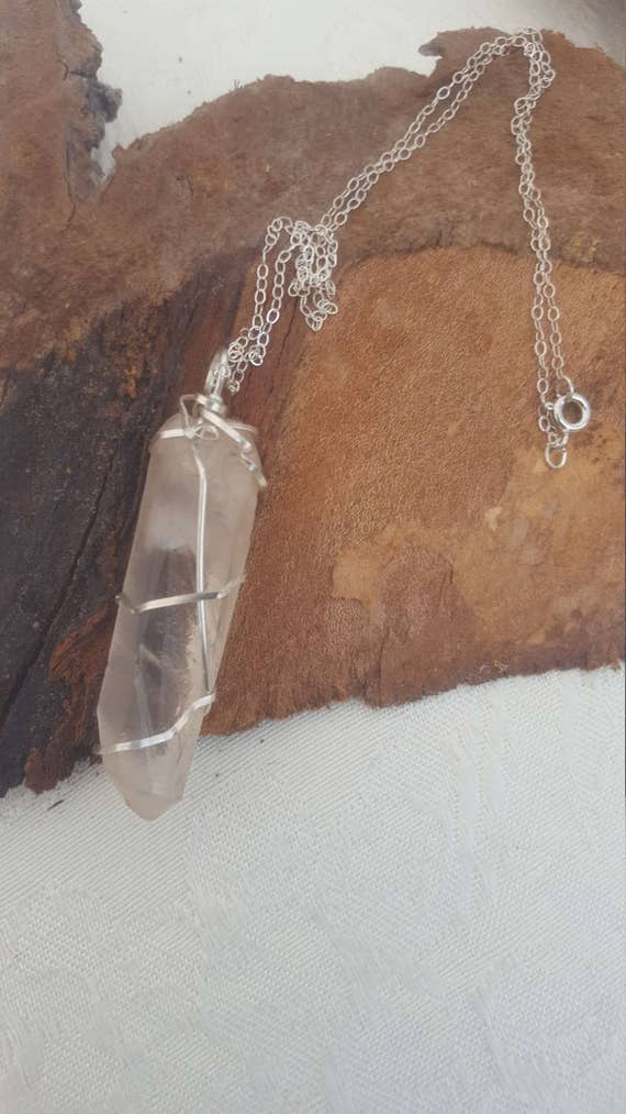 Wearable Sterling silver and Natural Quartz Pendulum