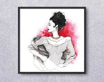 Lady in red - fine art print