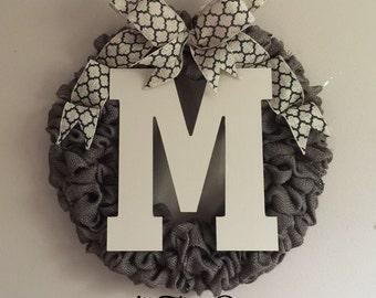 Front Door Initial Wreath, front door decor, front door wreath, summer wreath, home & living,wood monogram,gifts,wood letters,initial wreath