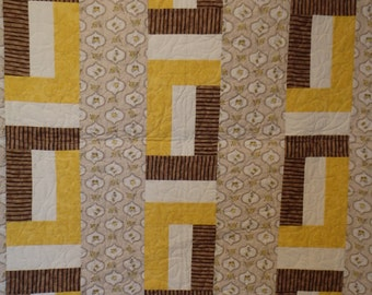 baby quilt, gender neutral quilt, lap quilt, brown quilt, brown and yellow quilt. gifts for baby