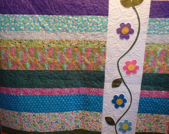 baby quilt, baby girl quilt, girl's quilt, flower quilt, homemade quilt, lap quilt, gifts for girls