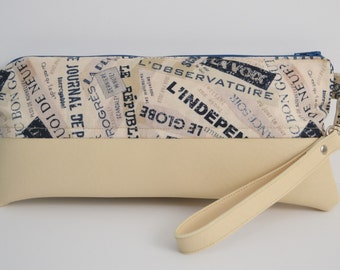 French Words Navy and Beige Wristlet/Clutch