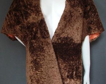 Vintage 1930s/30s 1940s/40s Brown Fake Fur STOLE/WRAP Antique