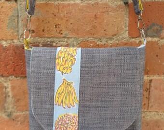 Shoulder bag, Handbag, Messenger bag, Fabric bag, Handmade bag,Queensland bag, Cross body bag, Satchel,OOAK bag,Grey messenger bag,Beach bag