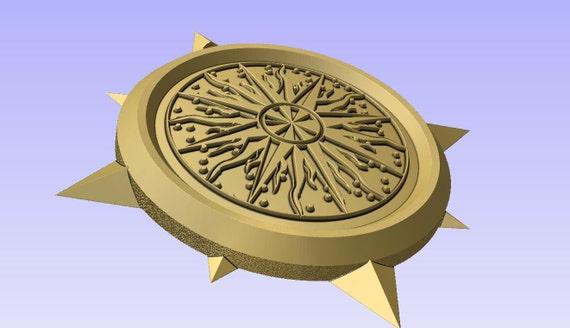 Stl 3d model of COMPASS SHAPED PENDANT or decoration for cnc carving vectric aspire cut3d artcam 3d printer.