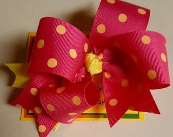Hair Bow, Polka Dot, Boutique Hair Bow,