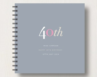 Personalised 40th Birthday Memories Book or Album