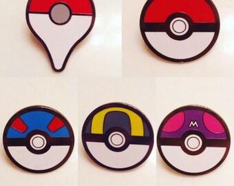 Pokemon pokeball pins badges metal set of 5 go