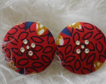 Red African print stud earrings