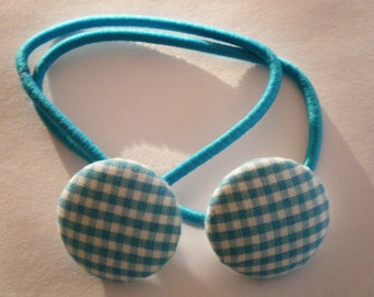 Toddler/Girl/Adult Button Hair Bands Set of 2 - Blue & White Gingham - Blue Elastic