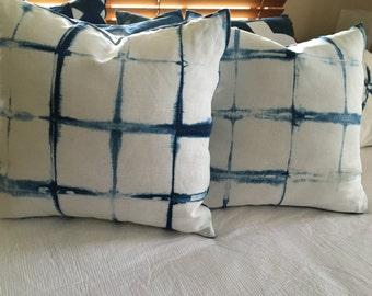 Indigo Blue Shibori Cushion Cover - 50cm X 50cm - Pure linen - windowpane pattern