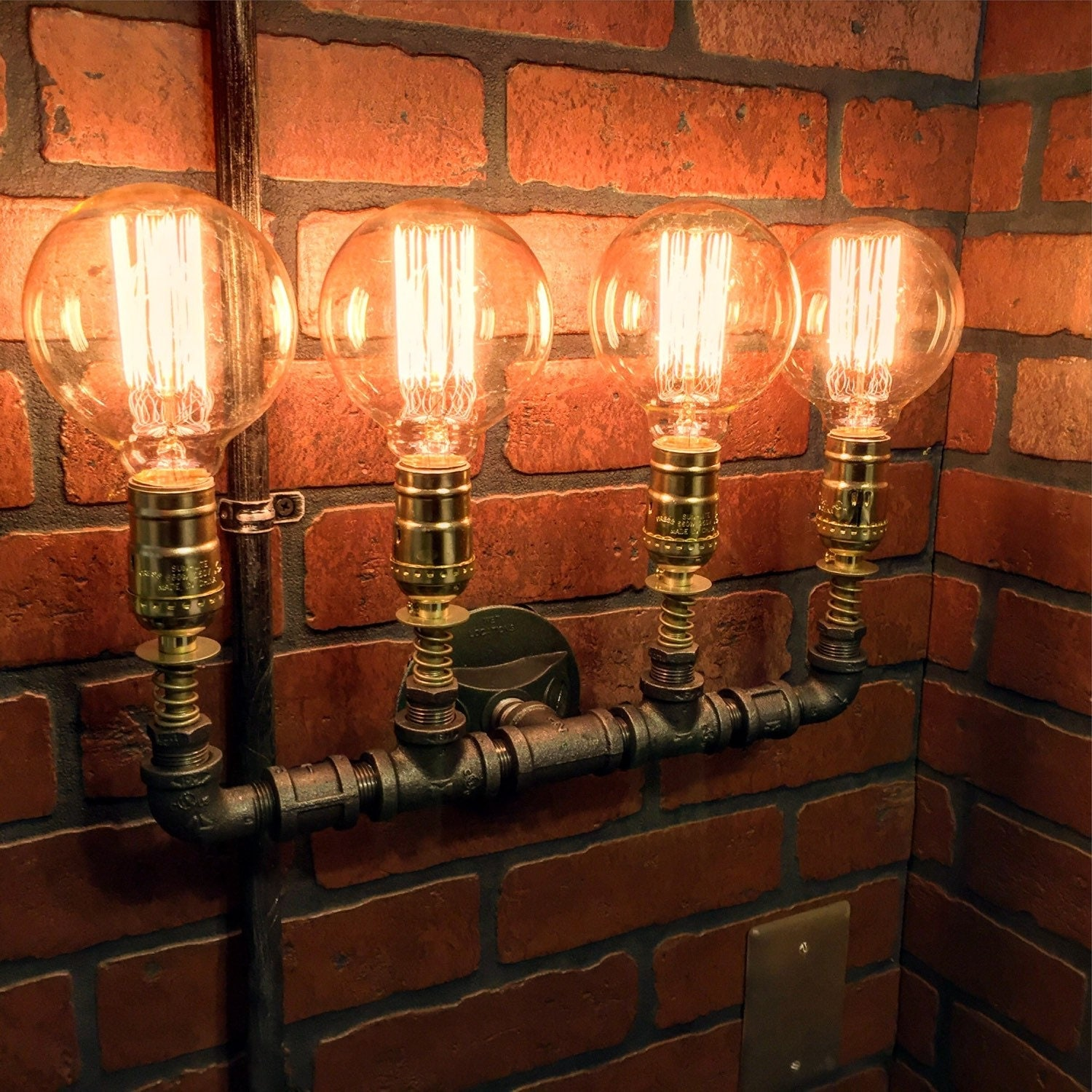 Steampunk Industrial 4 Bulb Wall Light With Copper Spings And