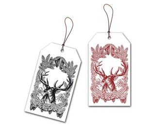 Printable Stationery - Christmas Deer - Gift Tags