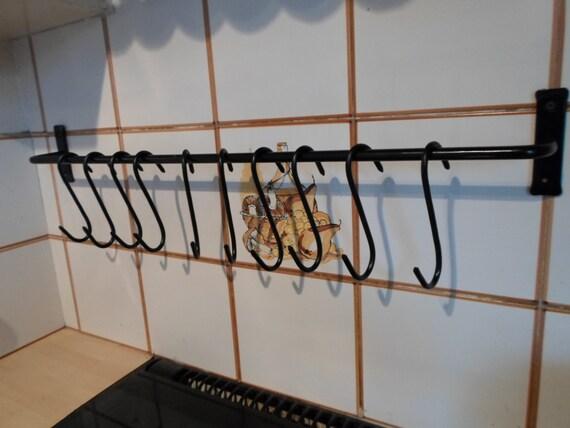 Wrought iron forged steel utensil pan rail hooks - Wrought iron silverware ...