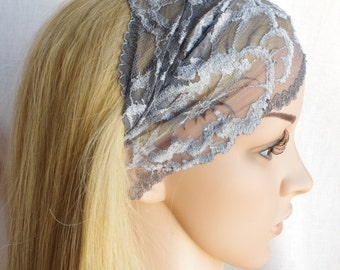 Headband women Gray lace headband Vintage Wide Headband Girly Gift Adult Headband Extra Wide Headband teen girl headband Yoga Headband