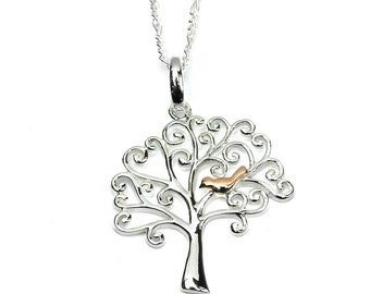 Sterling Silver Tree of Life necklace with a little perching bird plated in rose gold