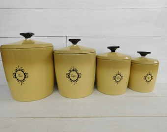 Vintage West Bend Harvest Gold Canister Set, Retro Kitchen, Mid Century  Storage Containers